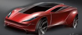 Red coupe concept car